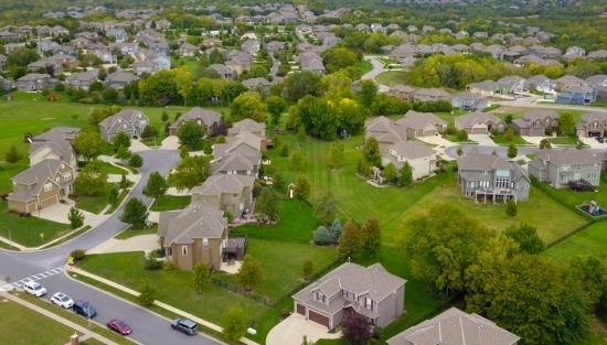 houses in suburban neighborhood