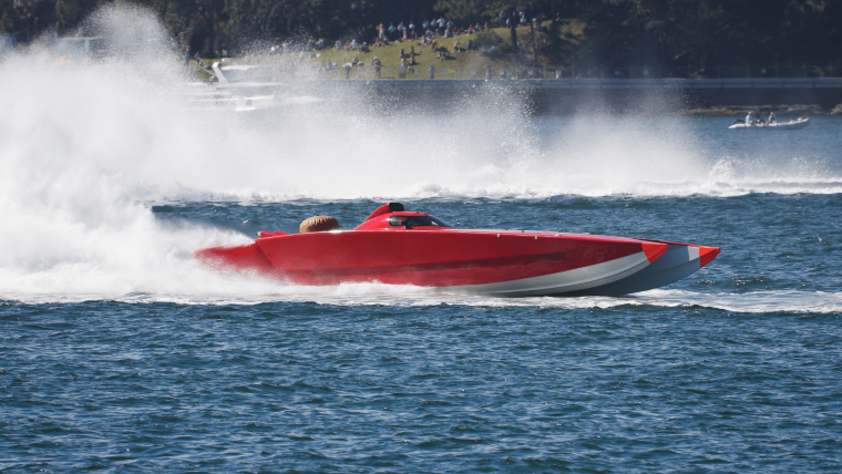 Red Powerboat in Race
