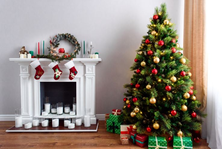 Buying a home during the holidays - inside decor with tree