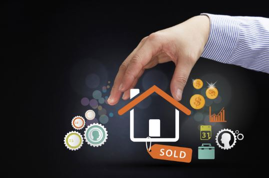 real estate market report concept man with symbols