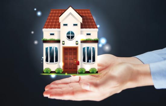Real estate market report - hands holding model house